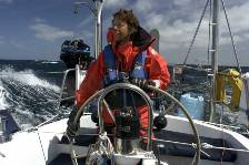 Gary helming in strong winds